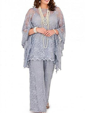 cheap Free Shipping-Pantsuit / Jumpsuit Mother of the Bride Dress Plus Size Jewel Neck Floor Length Chiffon Long Sleeve with Lace 2020