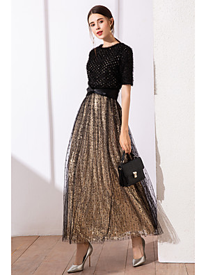 cheap Evening Dresses-A-Line Gold Black Wedding Guest Cocktail Party Dress Jewel Neck Short Sleeve Ankle Length Satin Tulle Sequined with Sequin Lace Insert 2020