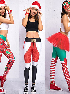 cheap Gymnastics-Women's High Waist Yoga Pants Leggings Butt Lift Breathable Christmas Black / Red Red / Green Red Gym Workout Running Fitness Sports Activewear High Elasticity Skinny