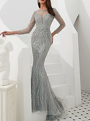 cheap Prom Dresses-Sheath / Column Sparkle & Shine Formal Evening Dress Jewel Neck Long Sleeve Sweep / Brush Train Tulle with Crystals 2020