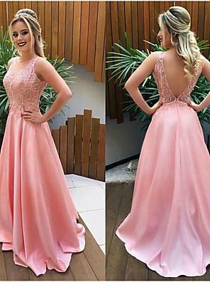 cheap Wedding Dresses-A-Line Elegant Open Back Prom Dress Jewel Neck Sleeveless Court Train Satin with Appliques 2020