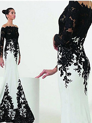 cheap Evening Dresses-Mermaid / Trumpet White Black Engagement Formal Evening Dress Off Shoulder Long Sleeve Sweep / Brush Train Satin with Lace Insert Appliques 2020