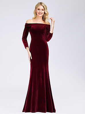 cheap Evening Dresses-Mermaid / Trumpet Elegant Formal Evening Dress Off Shoulder Long Sleeve Floor Length Velvet with 2020