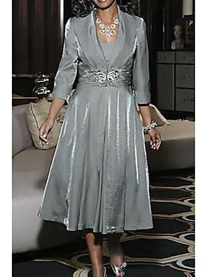 cheap Mother of the Bride Dresses-A-Line Mother of the Bride Dress Elegant Vintage Plus Size Square Neck Tea Length Polyester 3/4 Length Sleeve with Ruching 2020 Mother of the groom dresses