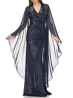 cheap Evening Dresses-Sheath / Column Elegant Formal Evening Dress V Neck Long Sleeve Floor Length Chiffon Lace with Sequin 2020