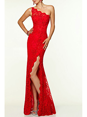 cheap Prom Dresses-Sheath / Column Open Back Prom Formal Evening Dress One Shoulder Sleeveless Floor Length Lace with Split Front 2020