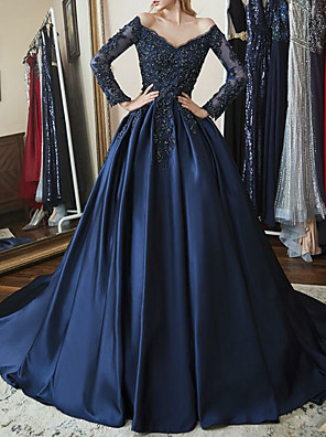 cheap Prom Dresses-Ball Gown Sparkle Blue Quinceanera Prom Dress Off Shoulder Long Sleeve Chapel Train Satin with Beading Appliques 2020