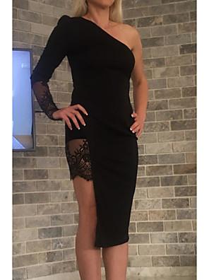 Недорогие Платья-Жен. Облегающий силуэт Платье - Длинный рукав Однотонный На одно плечо Черный S M L XL