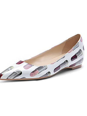 cheap Sexy Bodies-Women's Flats Flat Heel Pointed Toe Patent Leather Spring &  Fall Black / White