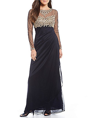 cheap Evening Dresses-Sheath / Column Elegant Formal Evening Dress Jewel Neck Long Sleeve Floor Length 30D Chiffon with Ruched Appliques 2020 / Illusion Sleeve