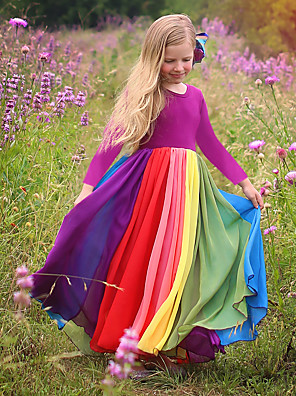cheap Baby & Kids-Kids Toddler Girls' Active Boho Solid Colored Patchwork Long Sleeve Maxi Dress Fuchsia
