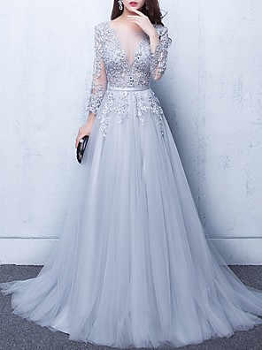 cheap Evening Dresses-A-Line Luxurious Grey Engagement Formal Evening Dress Illusion Neck Half Sleeve Chapel Train Tulle with Beading Appliques 2020