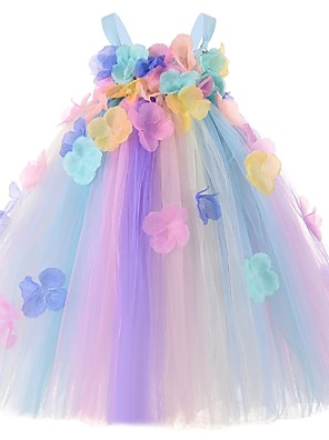cheap Baby Girls'  Dresses-Baby Girls' Basic Color Block Sleeveless Dress Blue