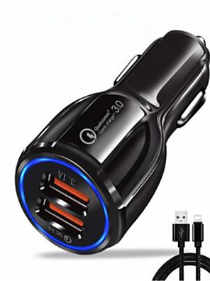 cheap Wireless Chargers-Car Charger / Fast Charger USB Charger USB with Cable / Multi-Output / QC 3.0 2 USB Ports 3 A DC 12V-24V for iPhone 11 / iPhone 11 Pro / iPhone 11 Pro Max