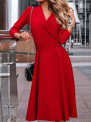 cheap Cocktail Dresses-A-Line Mother of the Bride Dress Plus Size V Neck Knee Length Polyester 3/4 Length Sleeve with Ruching 2020