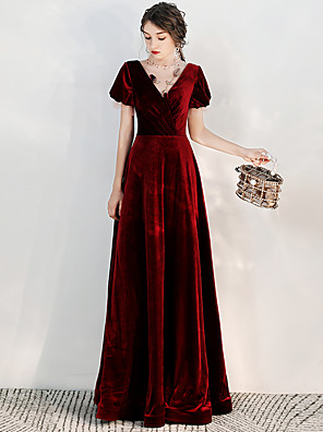 cheap Prom Dresses-A-Line Elegant Vintage Inspired Prom Formal Evening Dress High Neck Short Sleeve Floor Length Velvet with Beading Sequin 2020 / Puff / Balloon Sleeve
