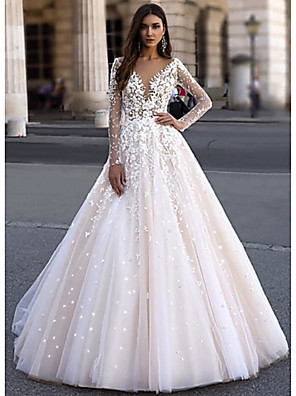 cheap Wedding Dresses-A-Line Wedding Dresses V Neck Floor Length Lace Tulle Long Sleeve Romantic Illusion Sleeve with Appliques 2020