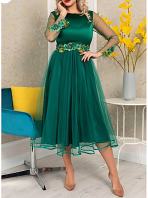 cheap Prom Dresses-A-Line Floral Green Wedding Guest Cocktail Party Dress Jewel Neck Long Sleeve Tea Length Polyester with Appliques 2020