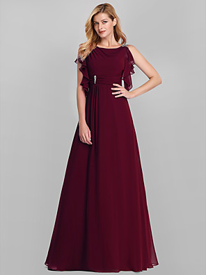 cheap Prom Dresses-A-Line Empire Red Wedding Guest Formal Evening Dress Boat Neck Sleeveless Floor Length Lace with Crystals Ruffles Draping 2020