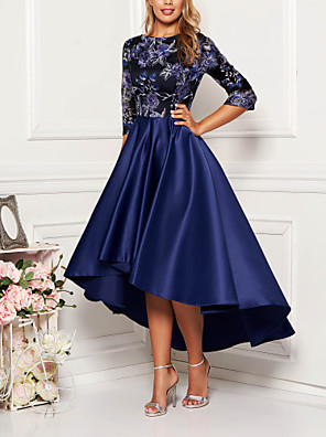 cheap Bridesmaid Dresses-Women's Asymmetrical Swing Dress - Half Sleeve Floral Solid Color Print Spring Fall Elegant Cocktail Party Prom Birthday 2020 Navy Blue M L XL XXL XXXL XXXXL XXXXXL