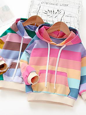 baratos Vestidos De Unicórnio-Infantil Para Meninas Básico Arco-Íris Patchwork Manga Longa Moleton & Blusa de Frio Vermelho