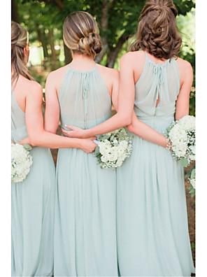 cheap Bridesmaid Dresses-A-Line Jewel Neck Floor Length Chiffon Bridesmaid Dress with Ruching