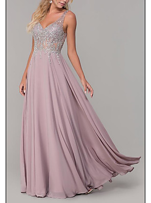 cheap Prom Dresses-A-Line Empire Pink Prom Formal Evening Dress V Neck Sleeveless Floor Length Chiffon with Pleats Beading 2020