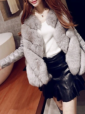 cheap Evening Dresses-3/4 Length Sleeve Coats / Jackets Fox Fur Wedding / Party / Evening Women's Wrap With Solid