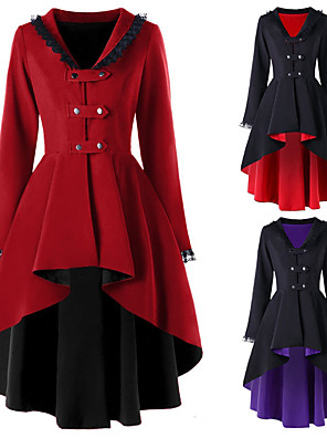 cheap Historical & Vintage Costumes-Plague Doctor Retro Vintage Steampunk Coat Masquerade Women's Cotton Costume Black / Red / Purple / Red Vintage Cosplay Party Halloween Long Sleeve