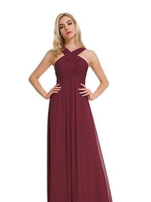 cheap Bridesmaid Dresses-A-Line Cross Front Floor Length Chiffon Bridesmaid Dress with Pleats / Ruching