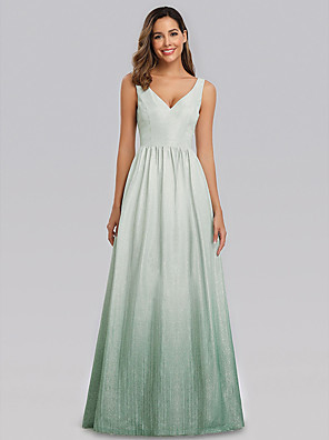 cheap Prom Dresses-A-Line Elegant Formal Evening Dress V Neck Sleeveless Floor Length Polyester with 2020