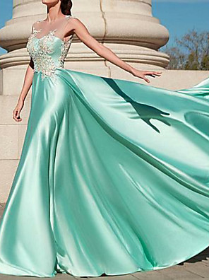 cheap Evening Dresses-A-Line Elegant Formal Evening Dress Jewel Neck Sleeveless Floor Length Polyester with Pleats Appliques 2020