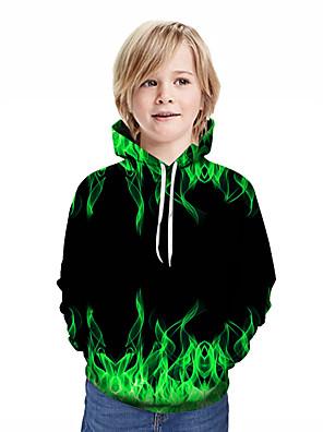povoljno Majice s kapuljačama i trenirke za dječake-Djeca Dječaci Aktivan Ulični šik Geometrijski oblici 3D Kolaž Print Dugih rukava Trenirka s kapuljačom Djetelina