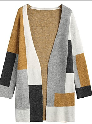 cheap Women's Skirts-Women's Color Block Long Sleeve Cardigan Sweater Jumper, V Neck Beige S / M / L