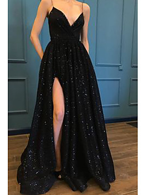 cheap Evening Dresses-A-Line Sparkle Black Prom Formal Evening Dress Spaghetti Strap Sleeveless Sweep / Brush Train Sequined with Pleats Split 2020