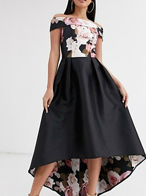 cheap Romantic Lace Dresses-A-Line Floral Prom Formal Evening Dress Off Shoulder Short Sleeve Asymmetrical Polyester with Pattern / Print 2020