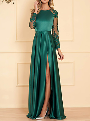 cheap Evening Dresses-A-Line Empire Turquoise / Teal Wedding Guest Formal Evening Dress Jewel Neck Long Sleeve Floor Length Satin with Appliques Split Front 2020
