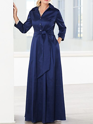 cheap Prom Dresses-A-Line Mother of the Bride Dress Elegant & Luxurious V Neck Floor Length Chiffon Long Sleeve with Sash / Ribbon 2020