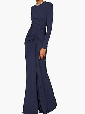 cheap Evening Dresses-Sheath / Column Elegant Blue Wedding Guest Formal Evening Dress Jewel Neck Long Sleeve Floor Length Polyester with Ruched Crystals 2020