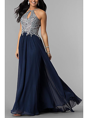 cheap Special Occasion Dresses-A-Line Elegant Prom Formal Evening Dress Halter Neck Sleeveless Sweep / Brush Train Chiffon with Lace Insert 2020