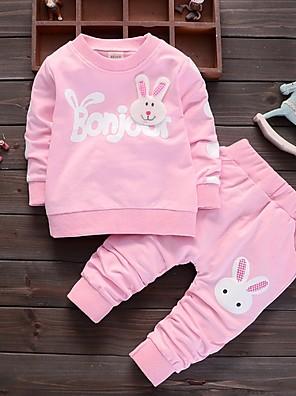 povoljno Kompletići za bebe-Dijete Djevojčice Ulični šik Print Dugih rukava Regularna Komplet odjeće Blushing Pink