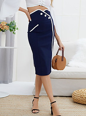 cheap Women's Dresses-Women's Daily Wear Basic Bodycon Skirts - Solid Colored Blue S M L