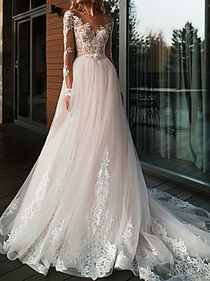 cheap Wedding Dresses-A-Line Wedding Dresses V Neck Court Train Tulle Long Sleeve Romantic Boho See-Through Illusion Sleeve with Lace Insert 2020