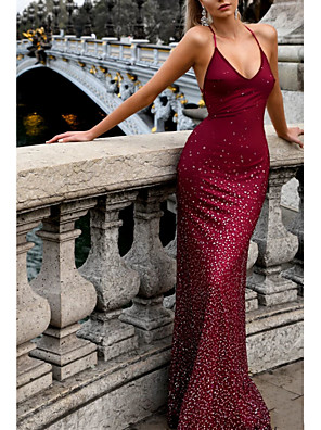cheap Prom Dresses-Mermaid / Trumpet Open Back Formal Evening Dress Halter Neck Sleeveless Sweep / Brush Train Polyester with Pleats Sequin 2020