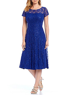 cheap Romantic Lace Dresses-A-Line Sheath / Column Elegant Holiday Cocktail Party Dress Jewel Neck Short Sleeve Tea Length Lace Satin with Sequin Lace Insert 2020