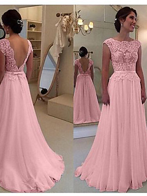 cheap Evening Dresses-A-Line Beautiful Back Pink Engagement Prom Dress Scalloped Neckline Sleeveless Court Train Chiffon with Bow(s) Appliques 2020