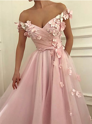 cheap Prom Dresses-A-Line Floral Cute Prom Dress Off Shoulder Short Sleeve Floor Length Chiffon with Bow(s) Appliques 2020
