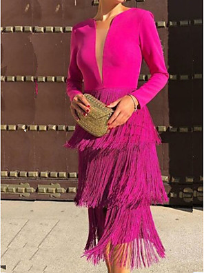 cheap Prom Dresses-Sheath / Column Hot Pink Party Wear Cocktail Party Dress Jewel Neck Long Sleeve Tea Length Polyester with Tassel 2020