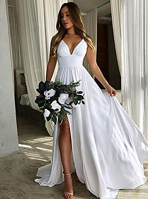 cheap Wedding Dresses-A-Line Plunging Neck Floor Length Chiffon Bridesmaid Dress with Pleats / Split Front