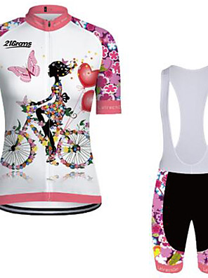 cheap Bridesmaid Dresses-21Grams Women's Short Sleeve Cycling Jersey with Bib Shorts Winter Pink+White Floral Botanical Bike Clothing Suit Breathable Quick Dry Ultraviolet Resistant Sports Floral Botanical Mountain Bike MTB
